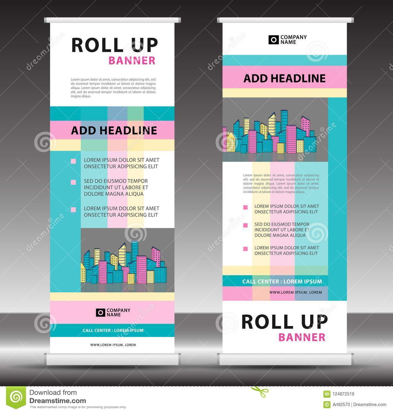 roll up banner template stand design pull up display
