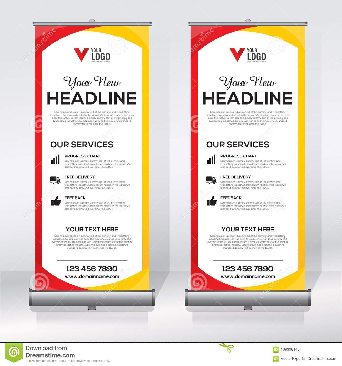 Roll Up Banner Design Template Vertical Abstract Background Pull