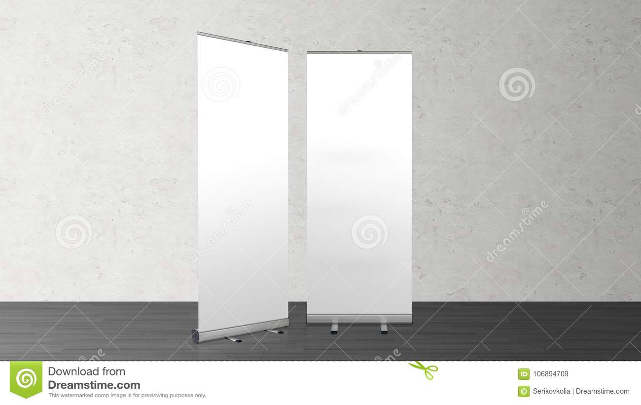 Exhibition Stand Roll Up : Rollup banners stand blank template mockup stock illustration