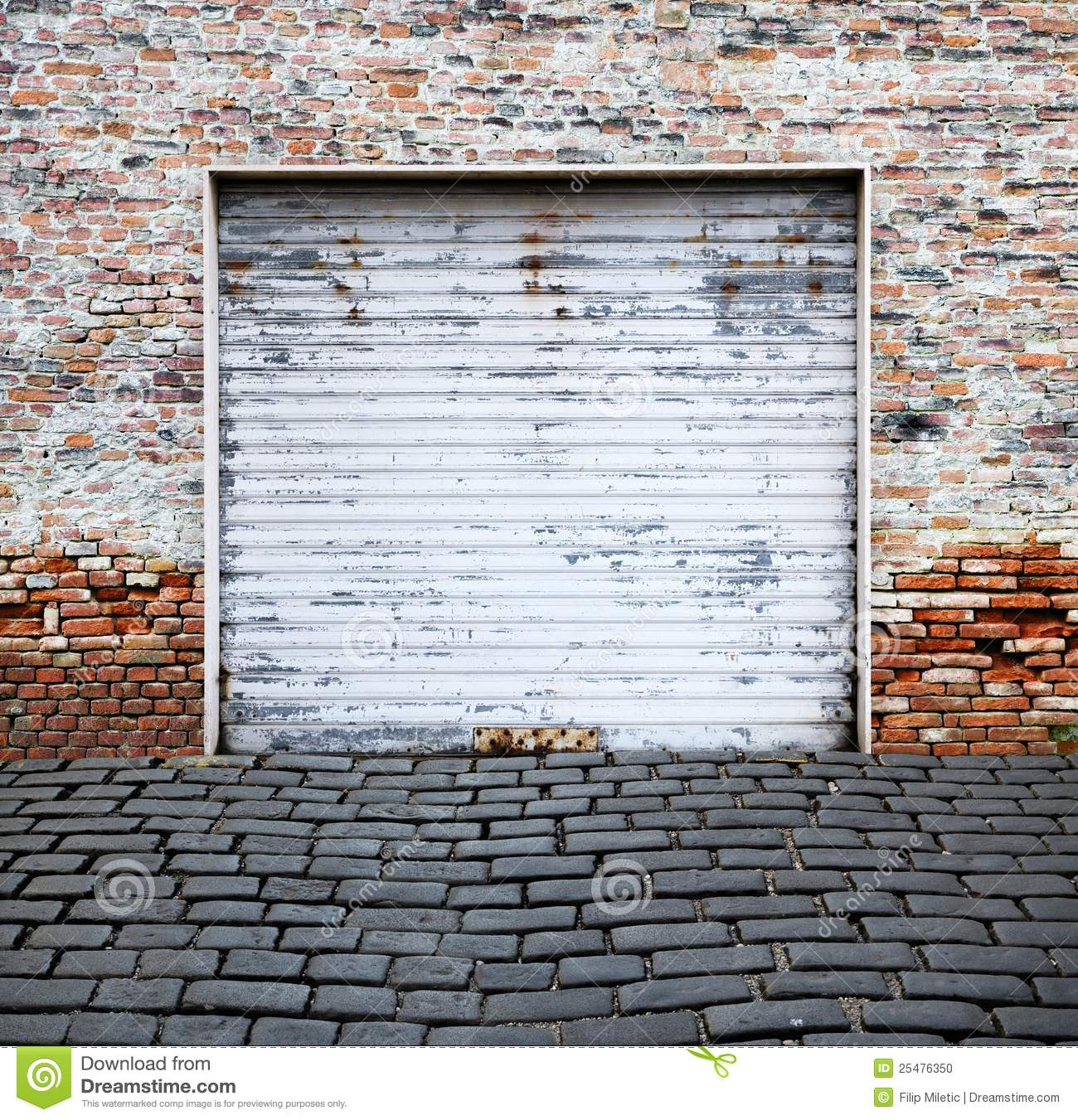 Roll Up Garage Door On Brick Wall Stock Photo Image