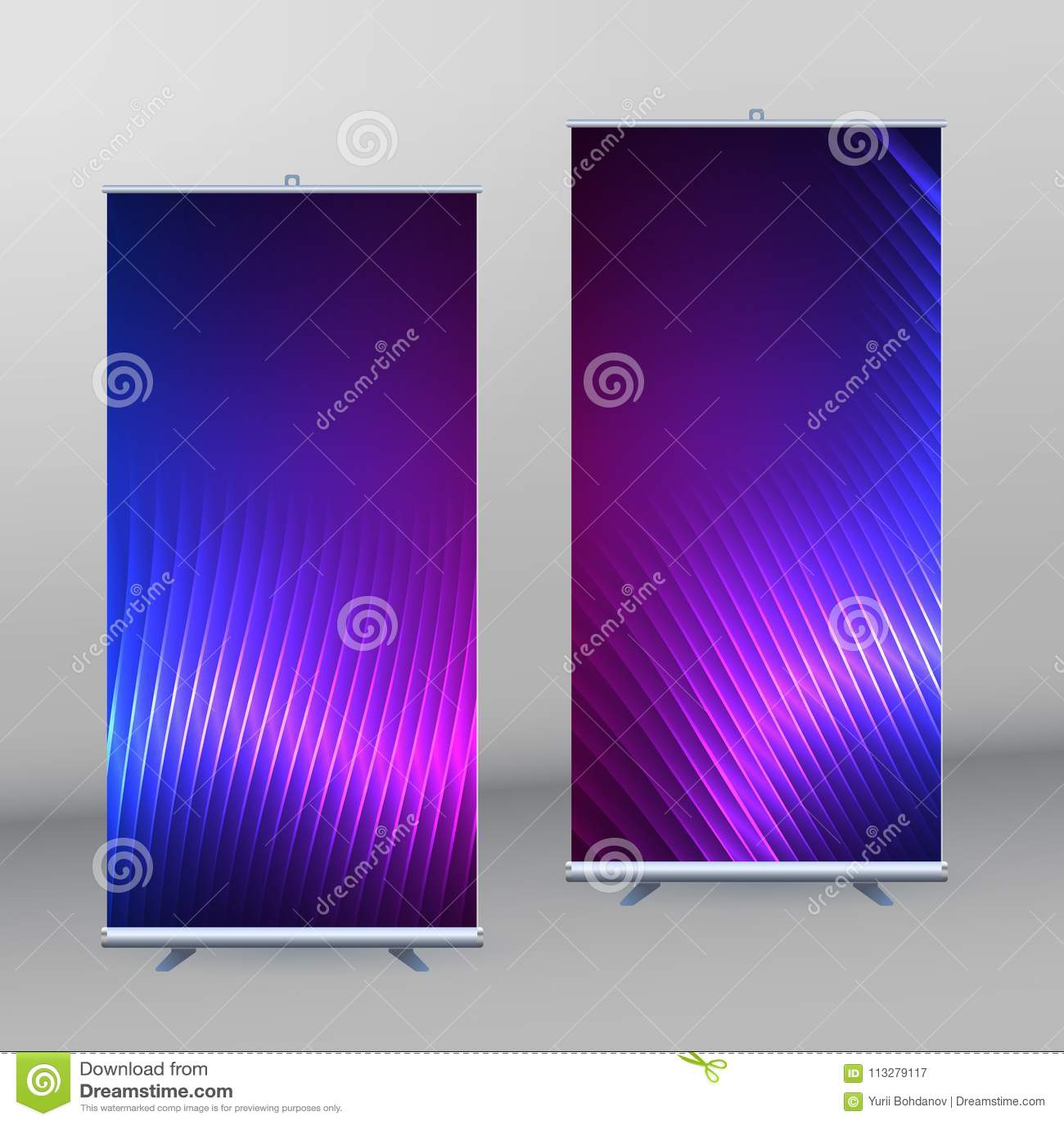roll up mockup vertical banner background blue purple neon effec