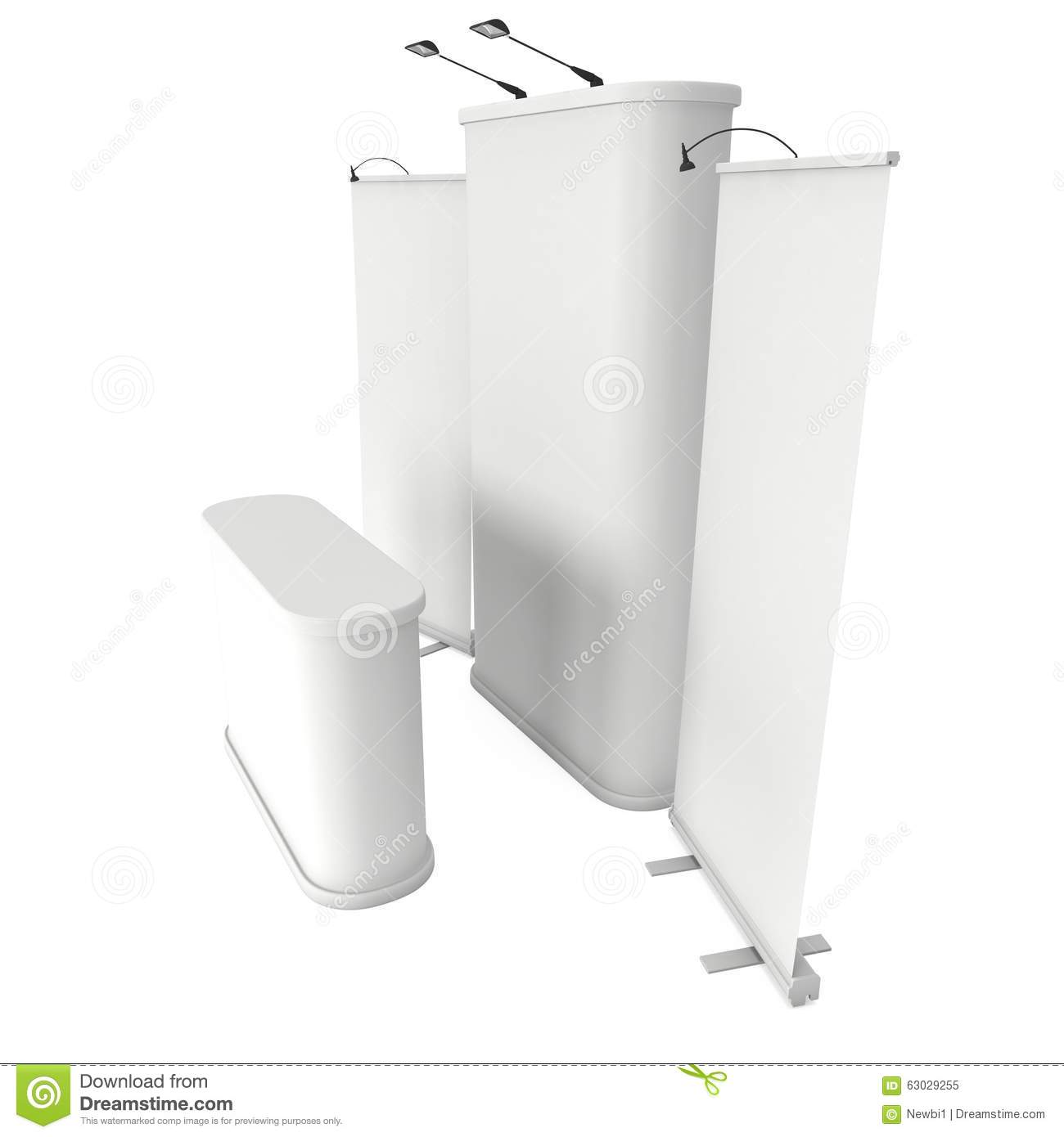 Exhibition Booth Template Free : Roll up and pop banner stands stock illustration