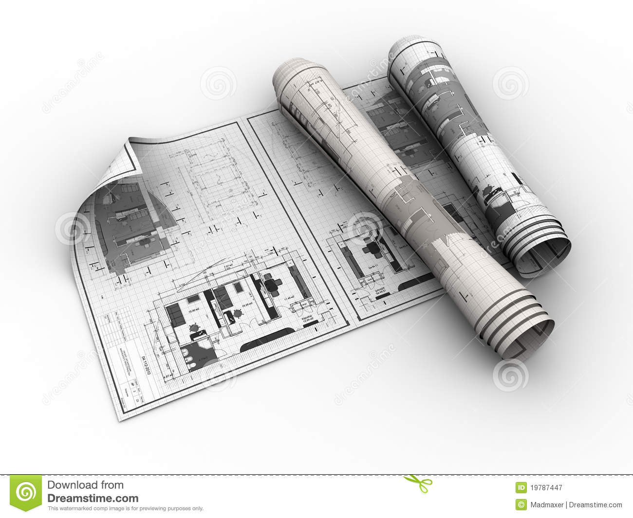 3d Floor Plan Design Rolled Blueprints Stock Illustration Image Of Improvement