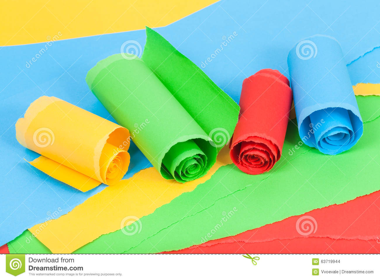 Rolled Colour Paper On Sheets Of Torn Paper Stock Photo - Image of ...
