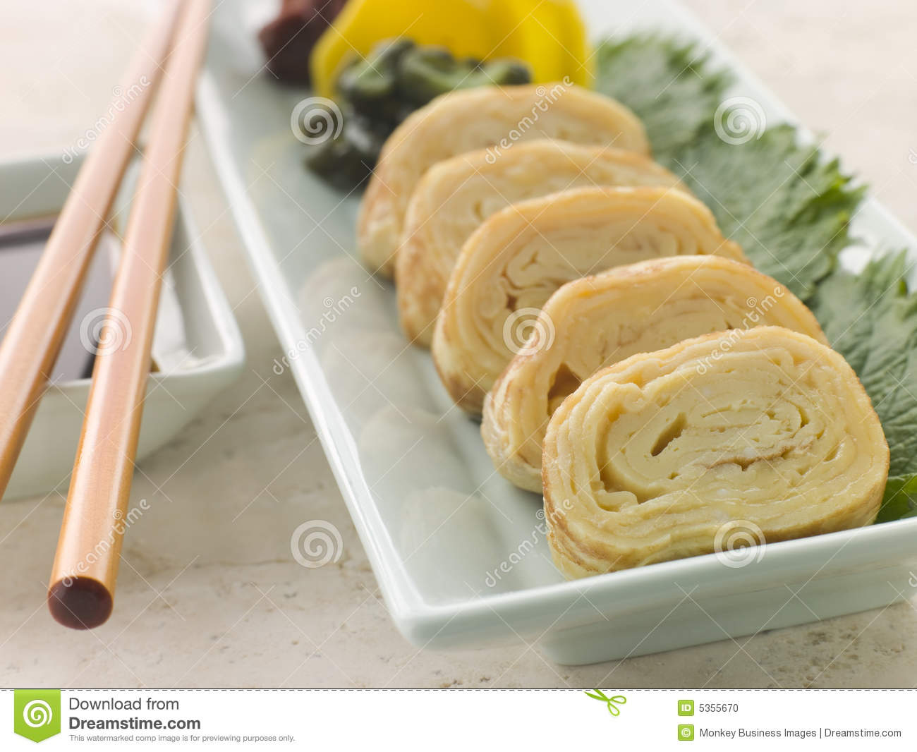 Rolled Dashi Omelette with Pickled Vegetables Soy