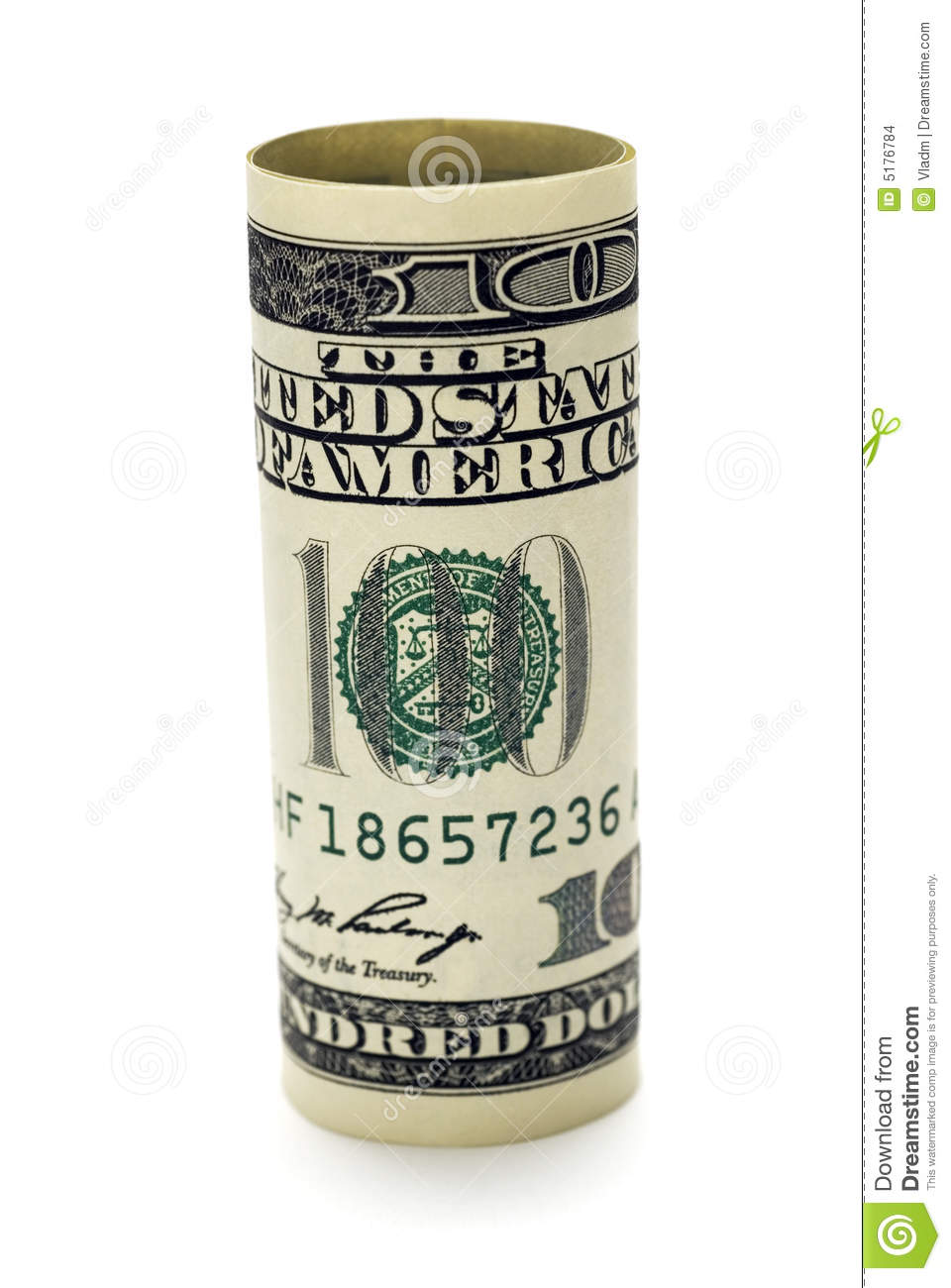Rolled Dollar Bill Stock Images Image 5176784