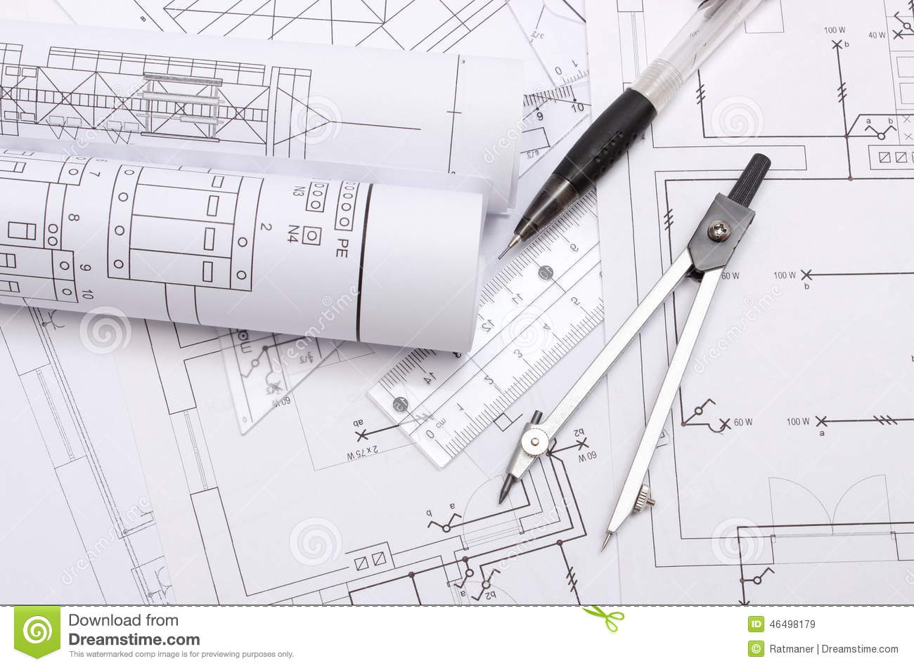 Rolled Electrical Diagrams And Accessories For Drawing Stock Image Download Of Project Paper