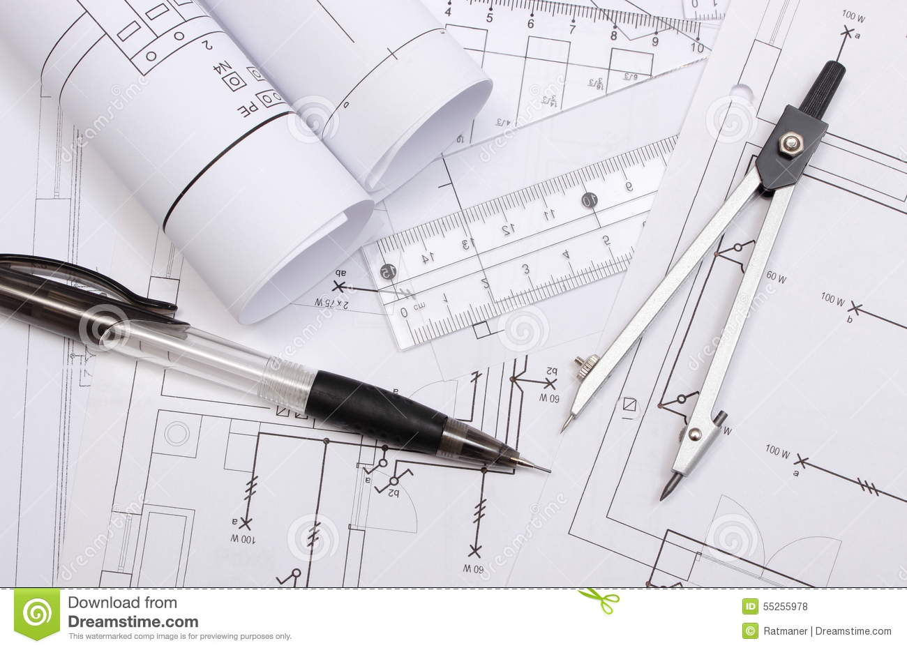 rolled electrical diagrams and accessories for drawing stock photo manufacturing diagram rolled electrical diagrams and accessories for drawing
