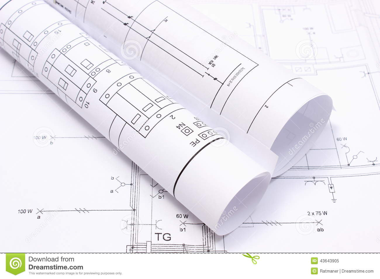 rolled electrical diagrams on construction drawing of