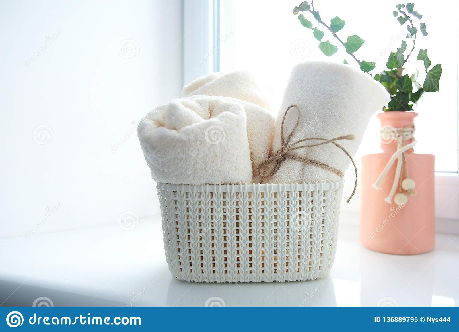 Bath Towels In Basket On Window Sill Empty Copy Space Stock Image Image Of Copy Pile 136889795