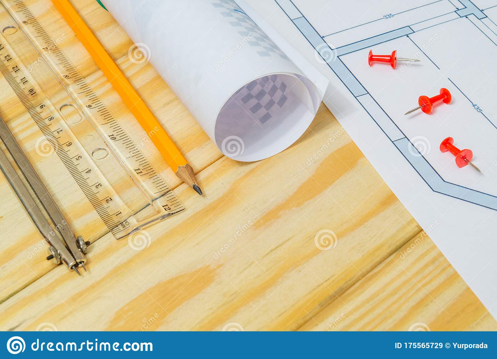 Rolled House Diagrams And Accessories For Drawing Lying On