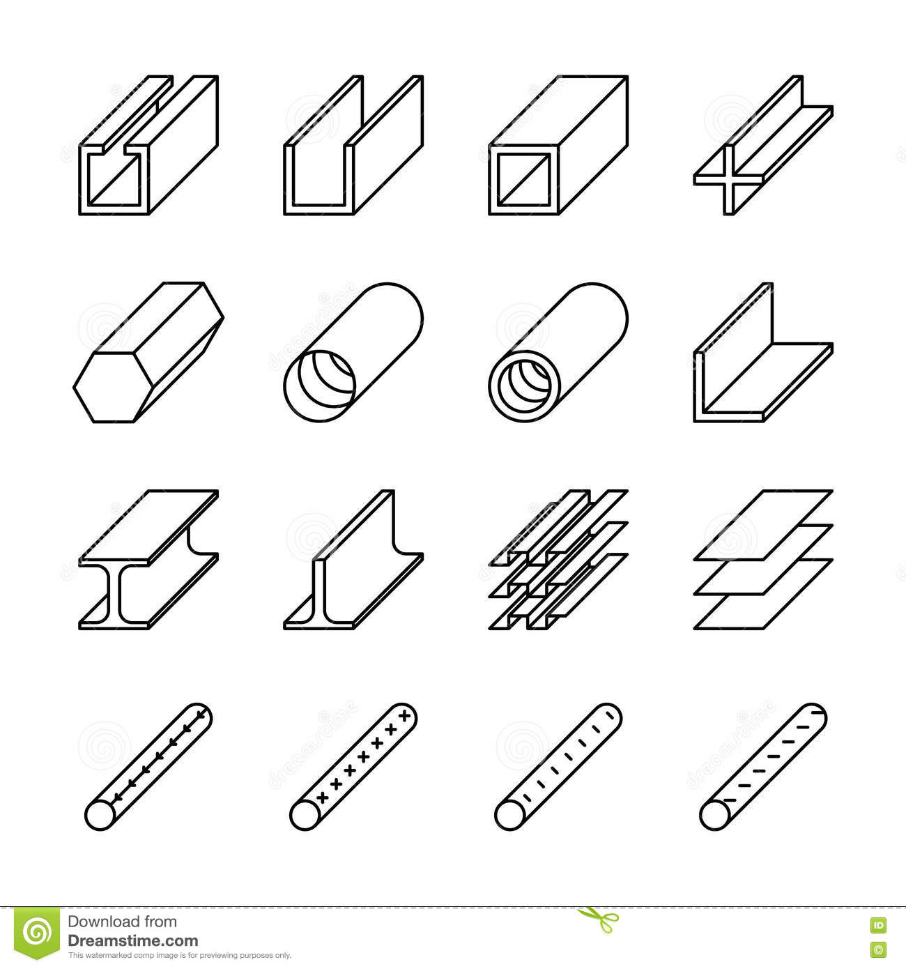 rolled metal product icons vector pictograms stock vector