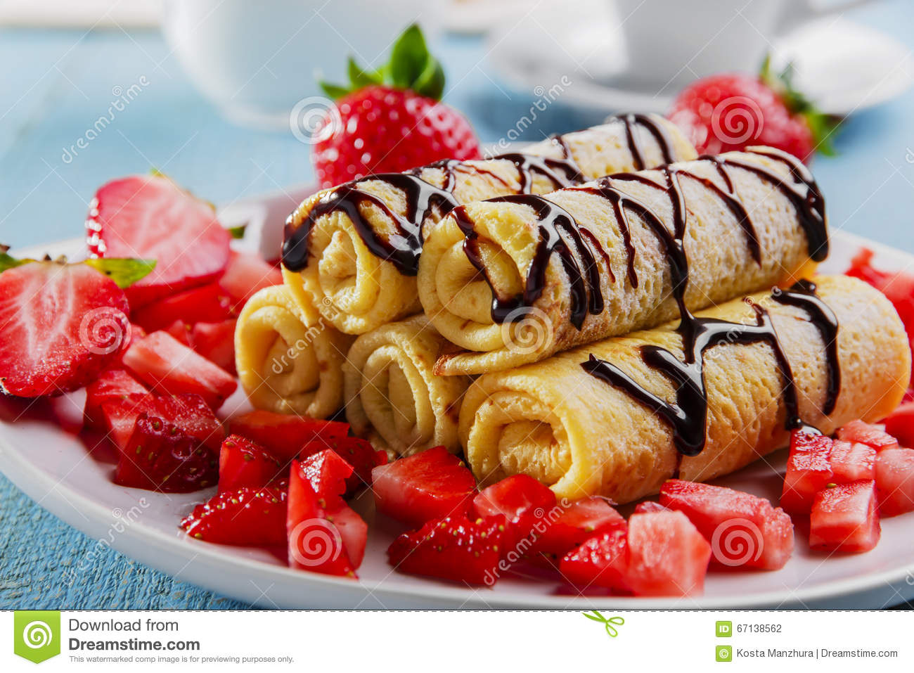 Rolled Pancakes With Strawberries And Chocolate Breakfast Stock Photo Image Of Bake Snack 67138562
