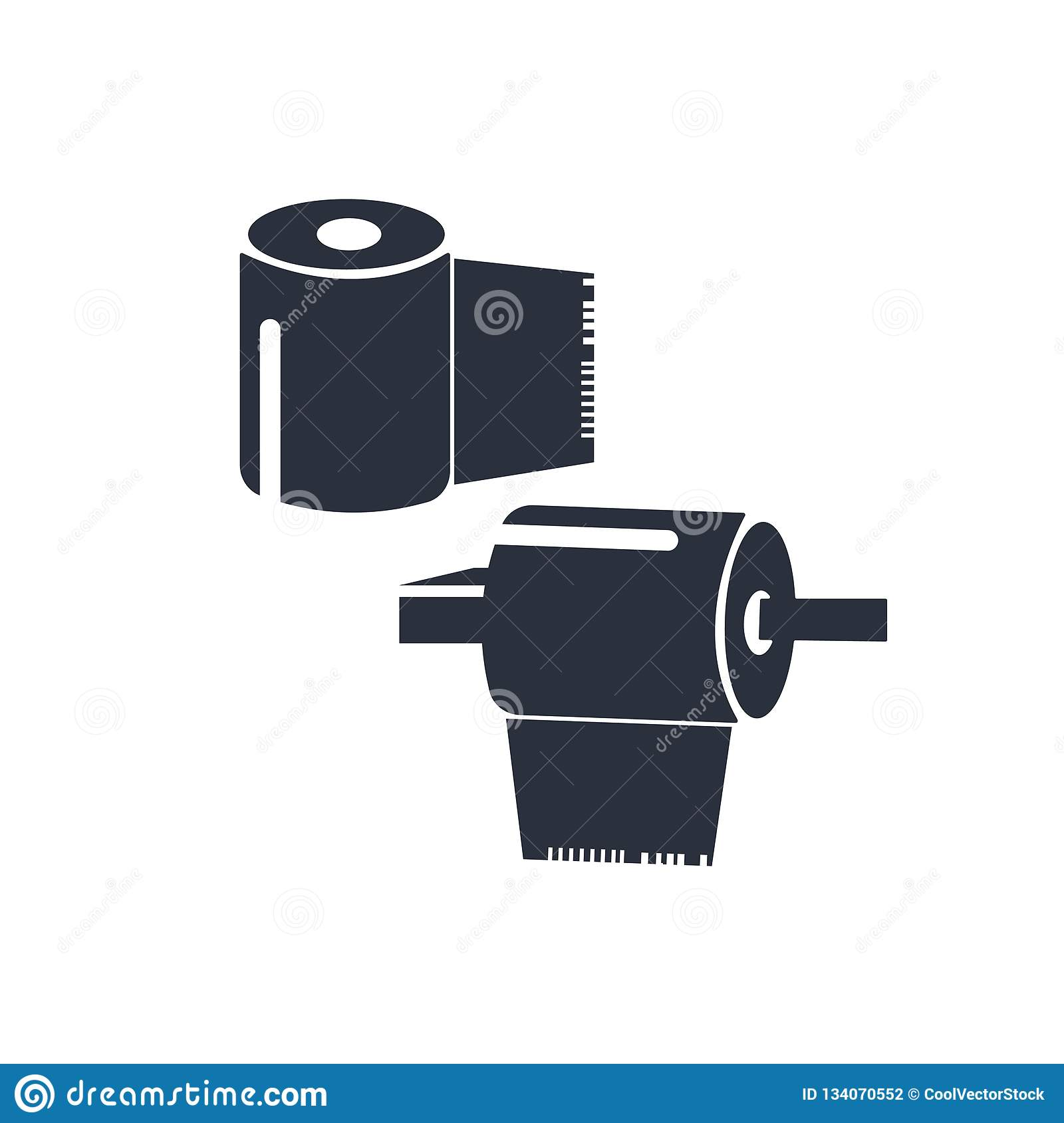 Rolled paper for bathroom icon vector sign and symbol isolated on white background, Rolled paper for bathroom logo concept