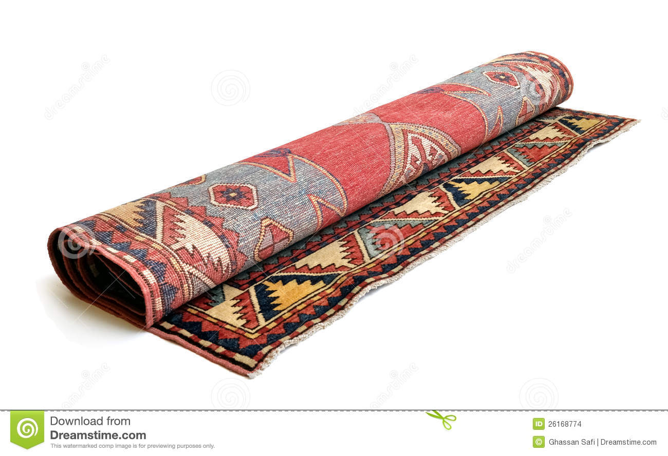 Rolled Persian carpet stock photo. Image of pattern ...