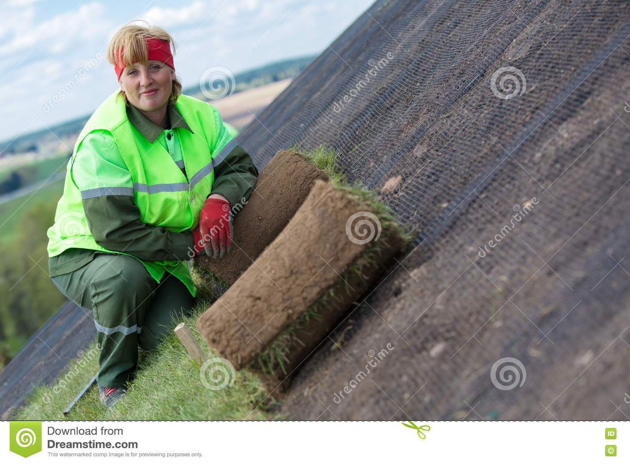 Rolled Sod Grass Turf For New Lawn Installation Stock Image