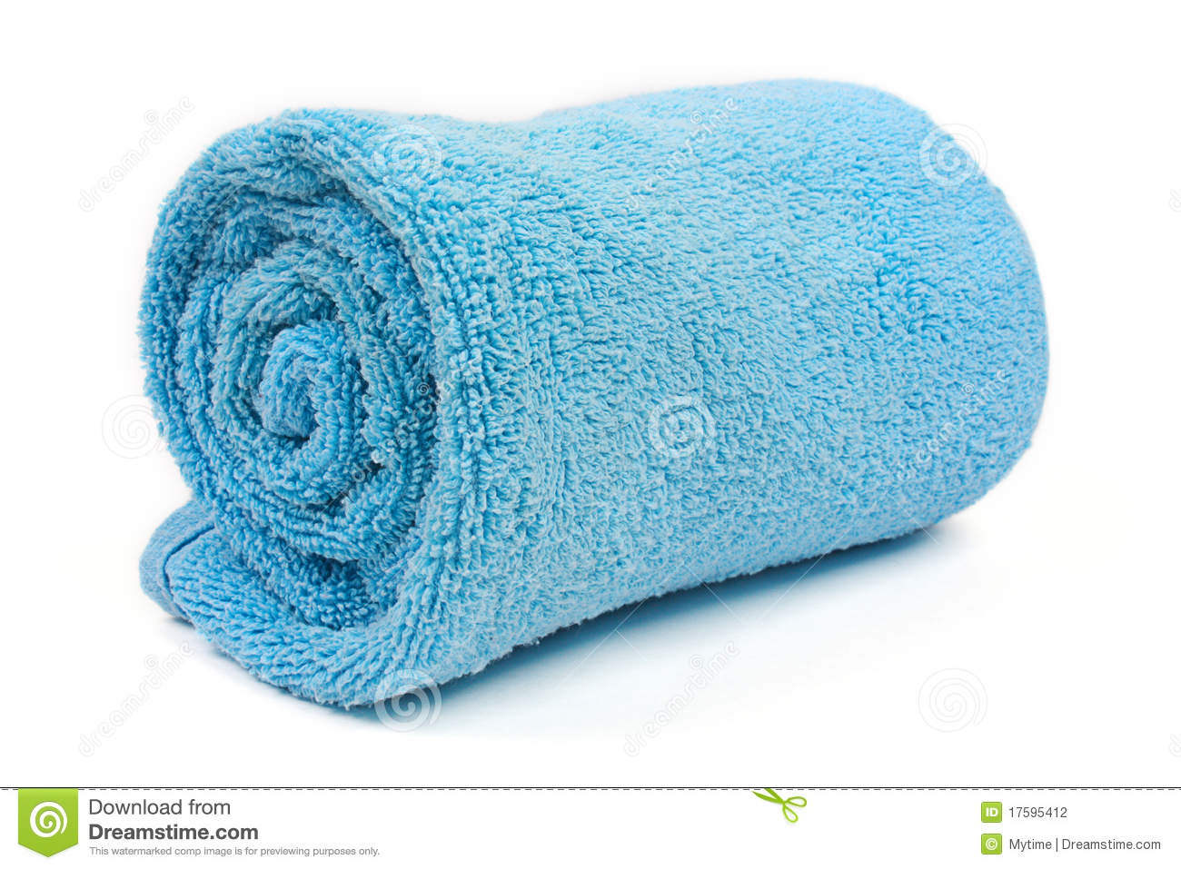 Rolled up blue beach towel stock photo. Image of ...