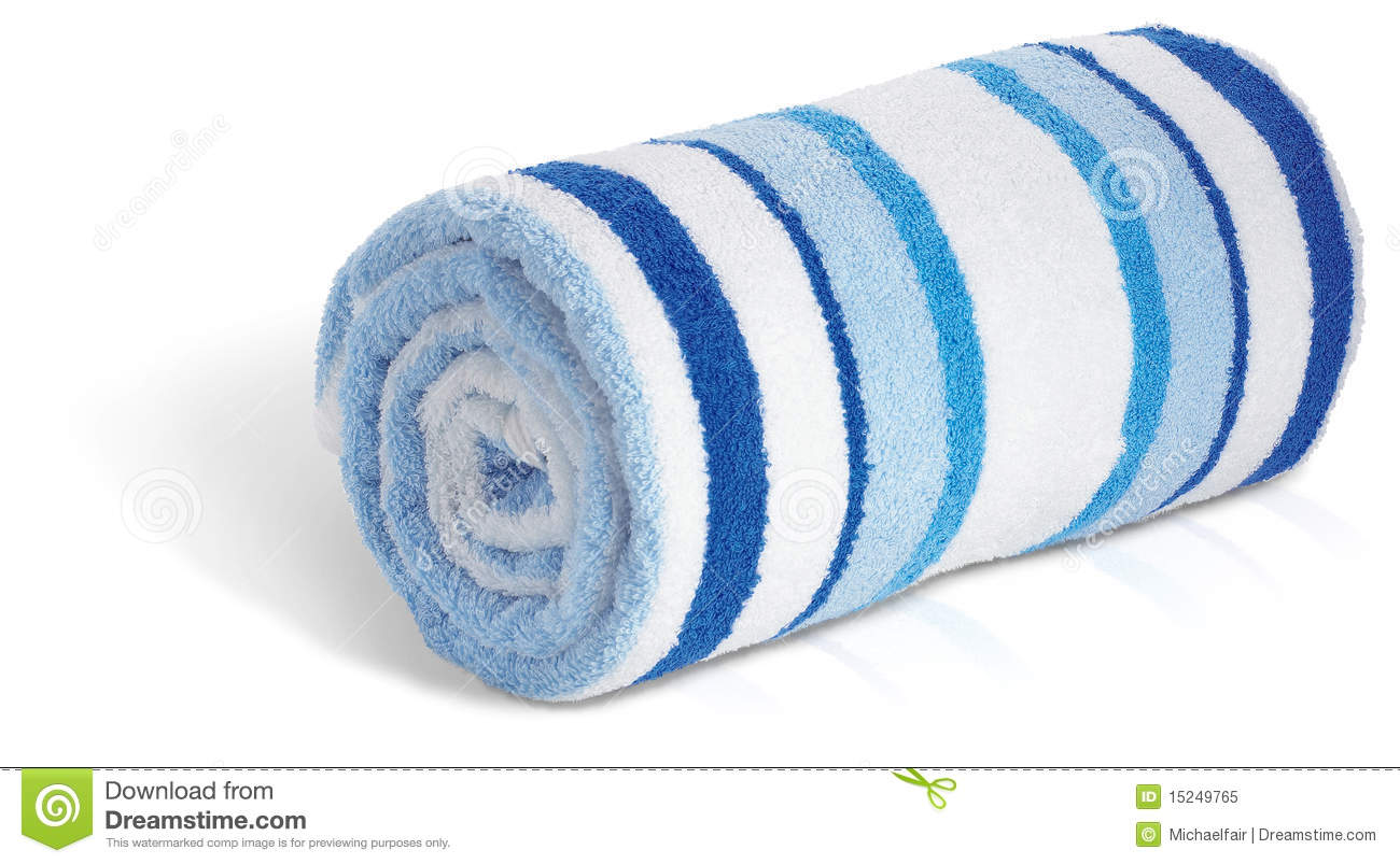Rolled Up Blue And White Beach Towel On A White Ba Royalty Free Stock ...