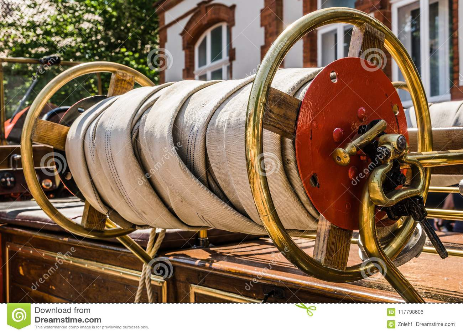rolled  fire hoses stock photo cartoondealercom