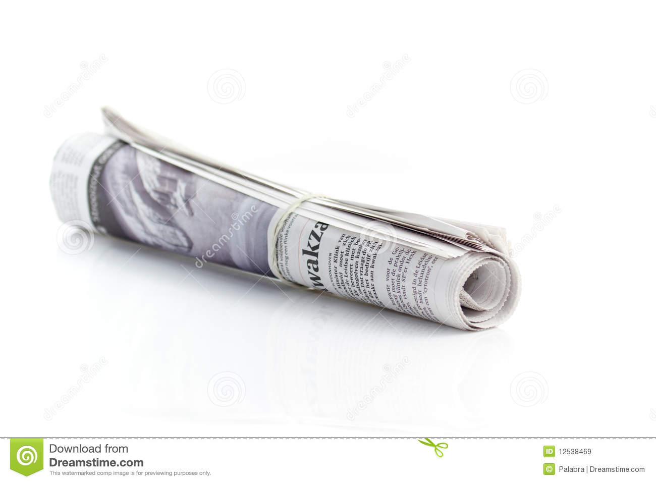 Rolled up newspaper stock image. Image of paper ...