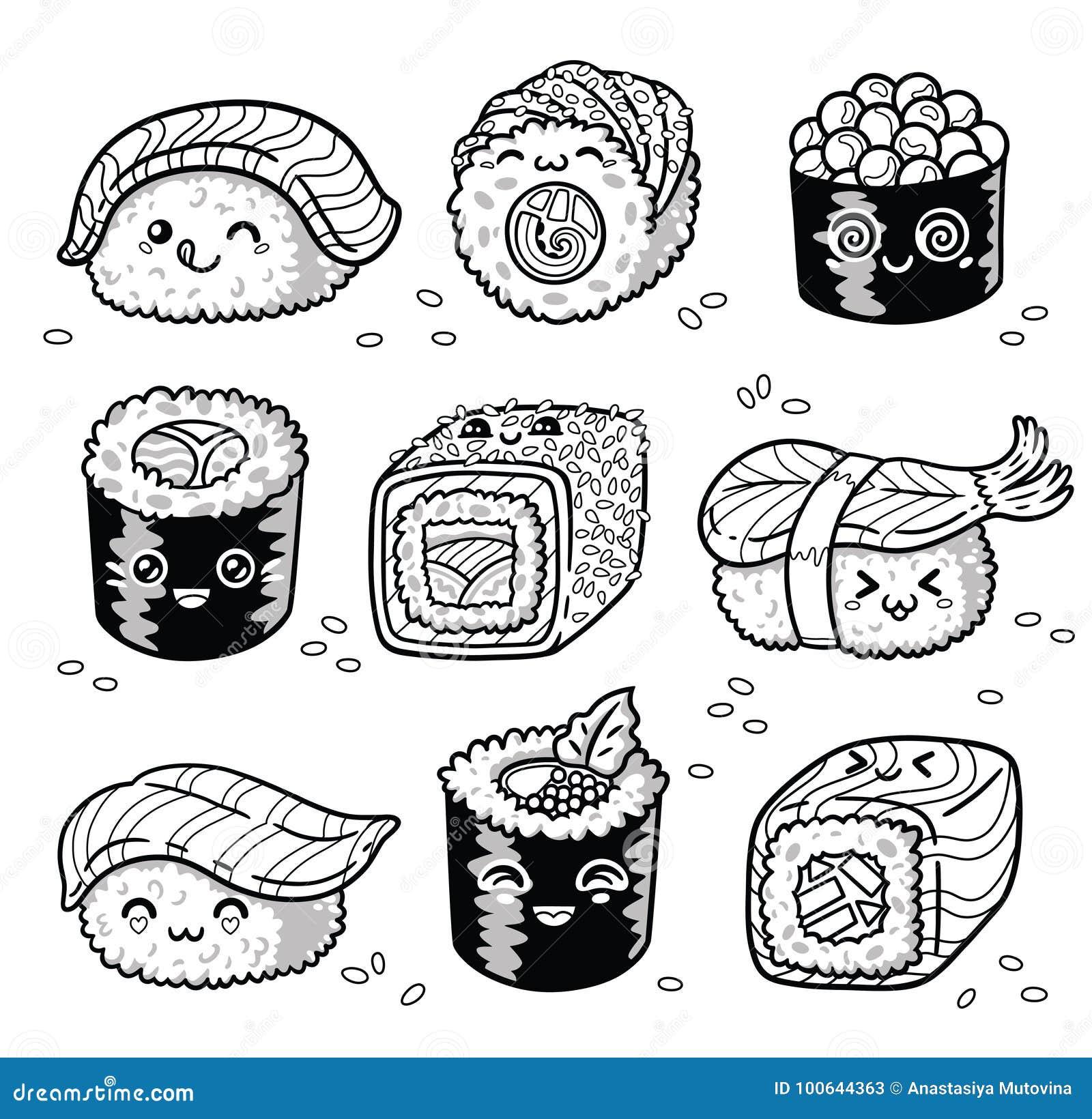 Rollen Und Sushi Kawaii Manga Karikatur Stellte In Entwurf Ein