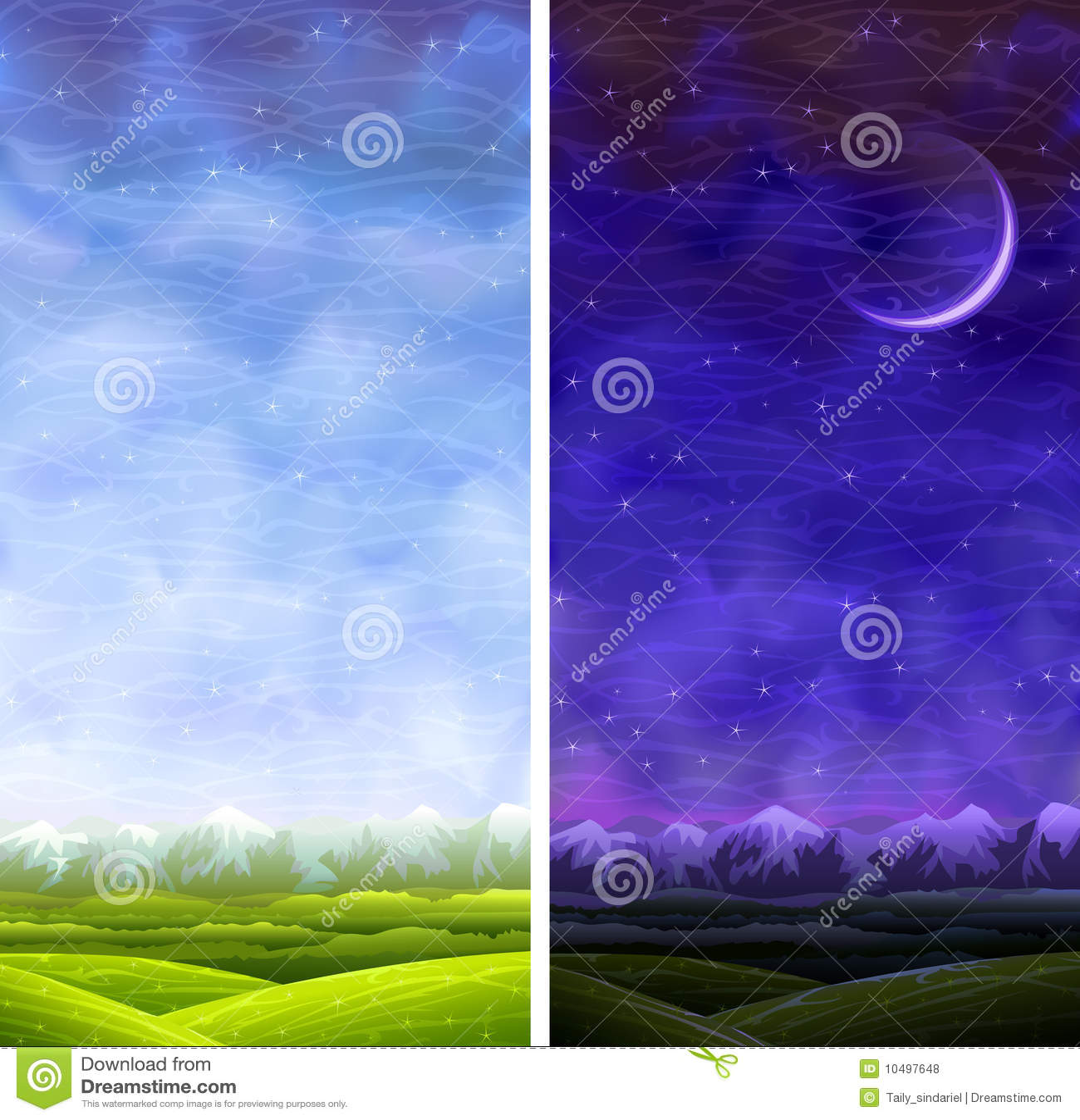 Rollende Landschaften der Vertikale des Sommers Tag und Nacht