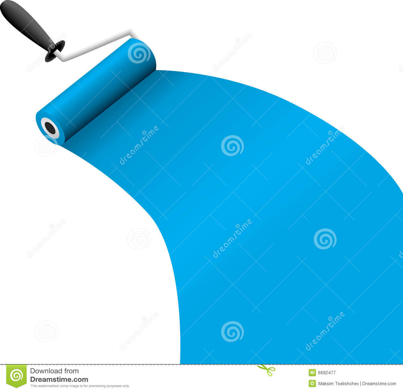 Roller Brush With Blue Paint Royalty Free Stock Photography - Image ...
