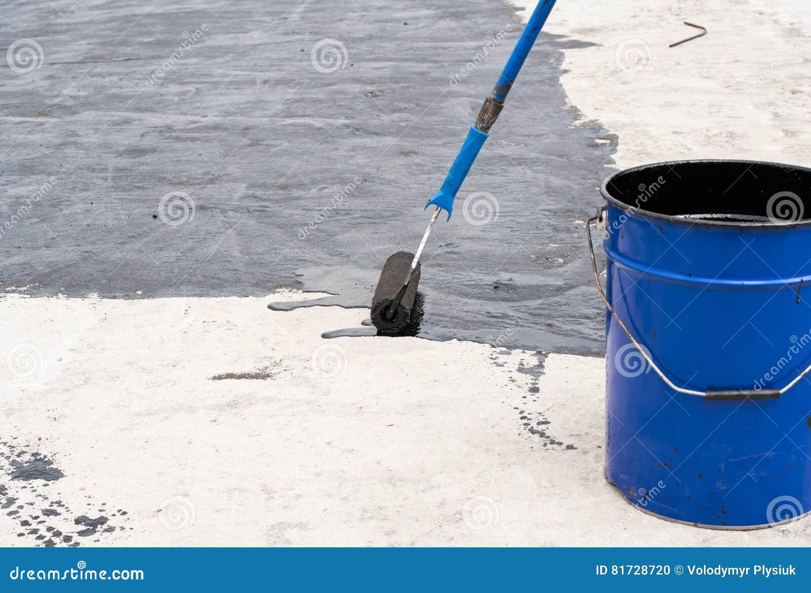 roller brush waterproofing stock photo image of black 81728720