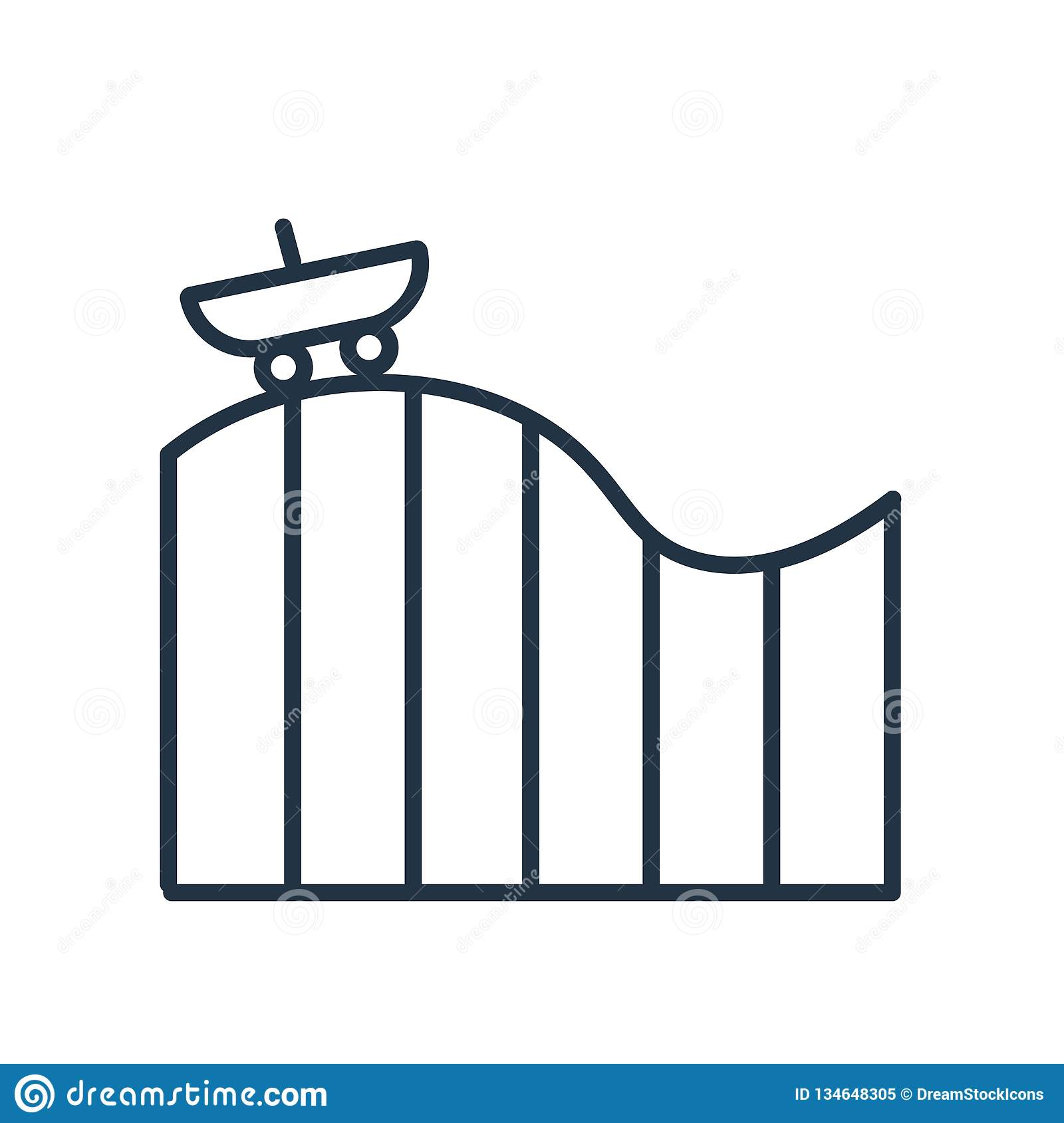 Roller coaster icon vector isolated on white background, Roller coaster sign