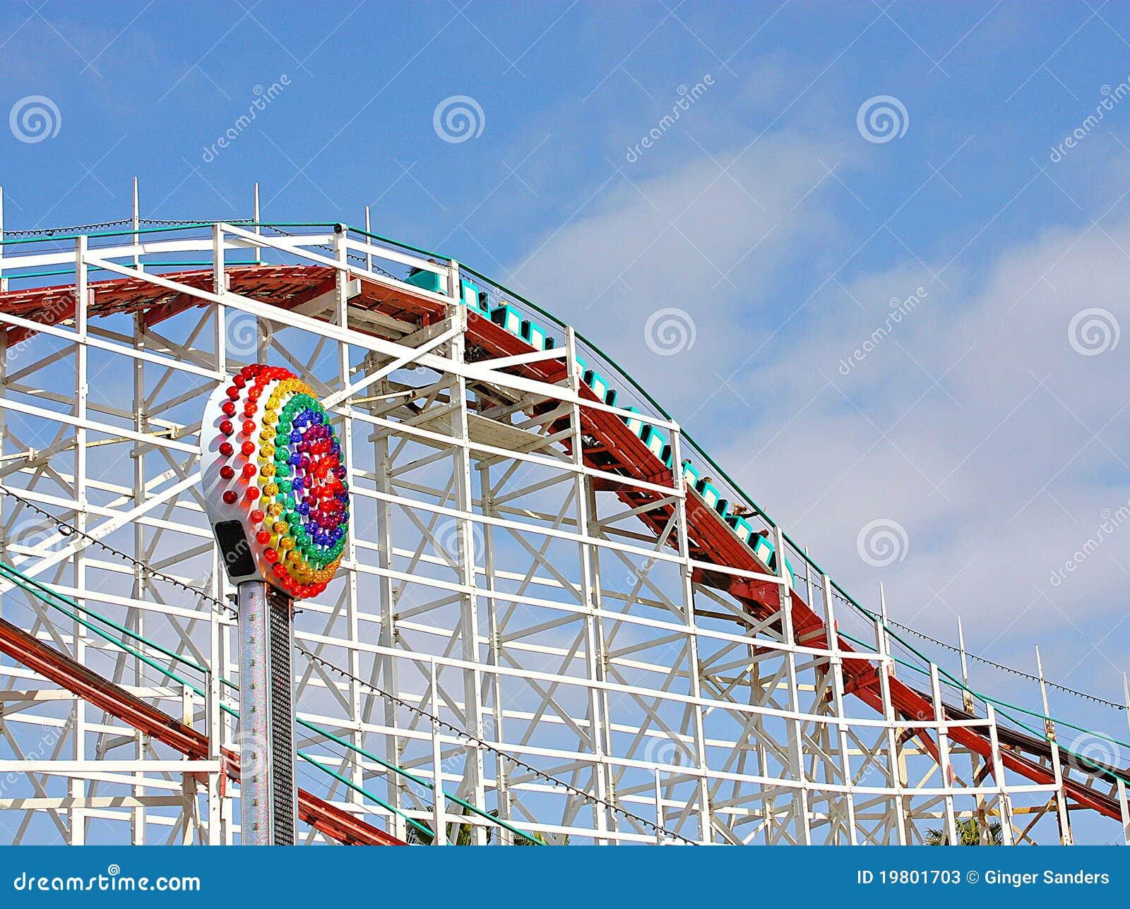 Roller Coaster Under Blue Skies