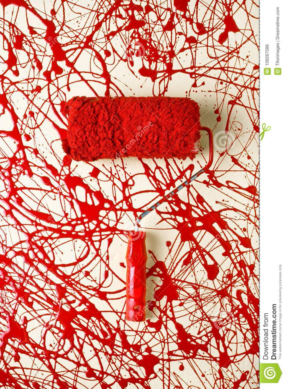 Roller Paint Brush Over Paint Stock Photo Image Of Design