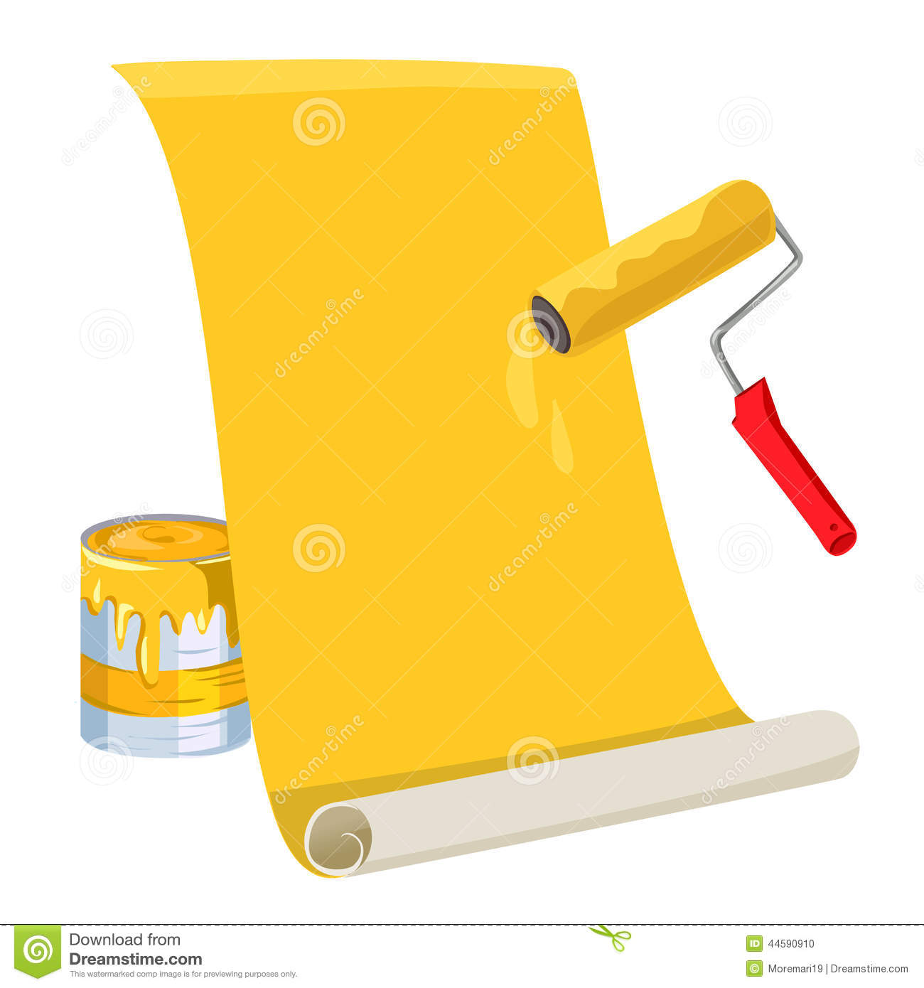 Roller With Paint Roll Of Wallpaper Stock Vector