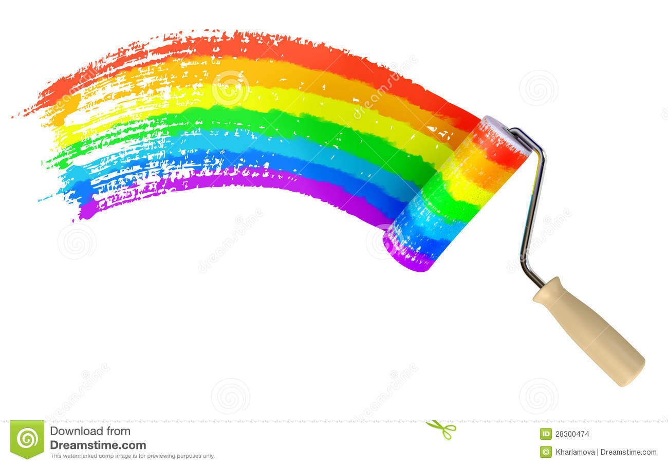 roller paint wall color of rainbow stock images image 28300474