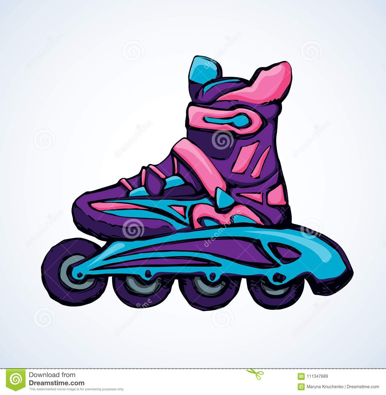 Roller Skate Vector Drawing Stock Vector Illustration Of Isolated