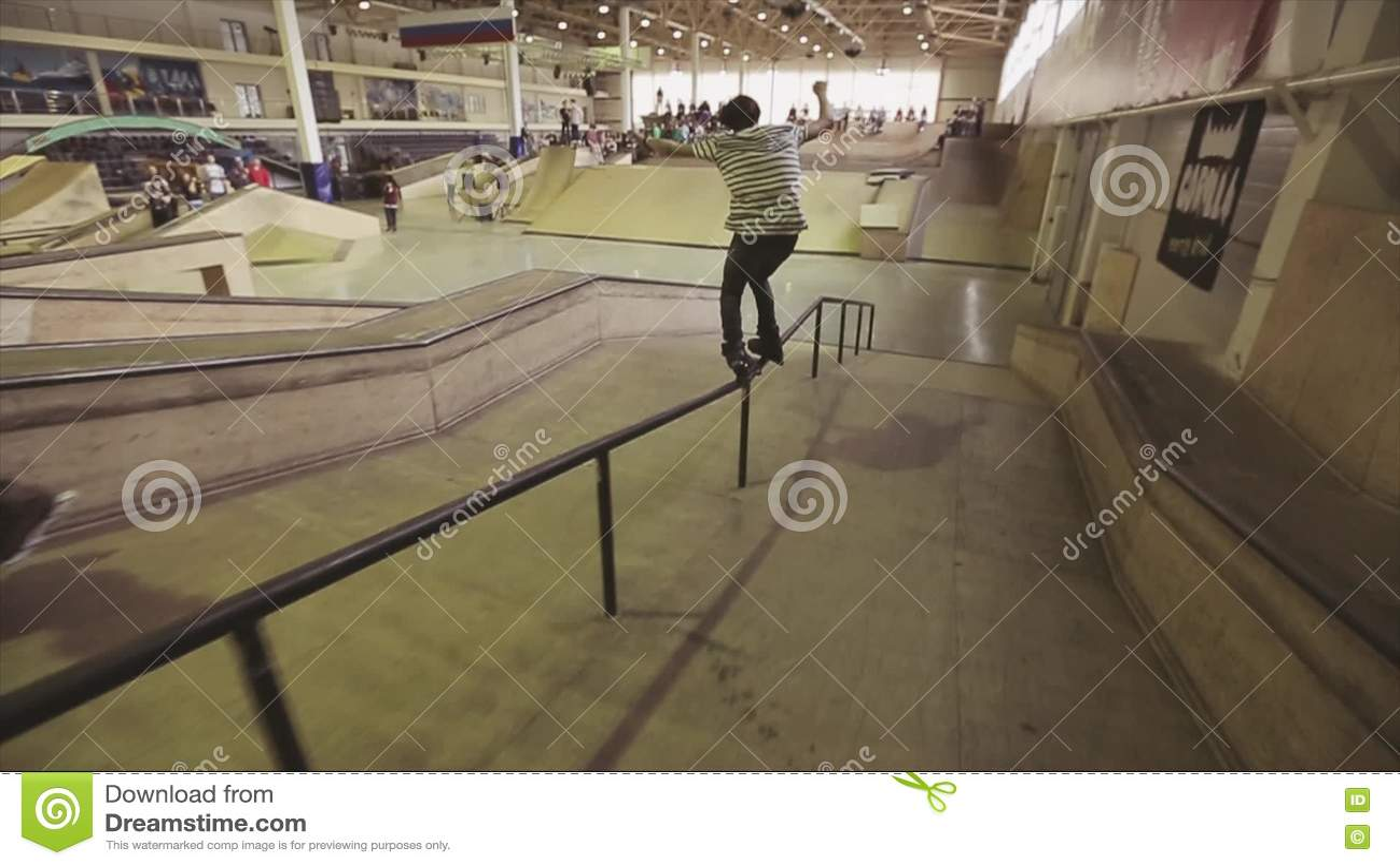 Roller skate xtreme - Roller Skater Make Extreme Slip On Long Fence In Skatepark Springboard Challenge Competition Stock Footage Video 71519470