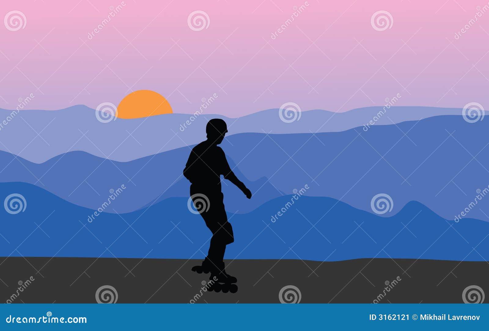 Roller skater at sunset