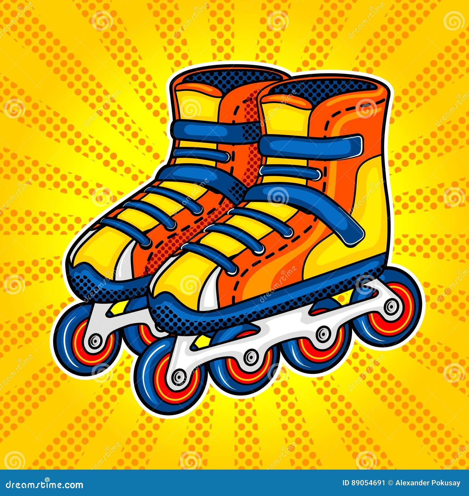Roller skates book - Roller Skates Comic Book Style Vector