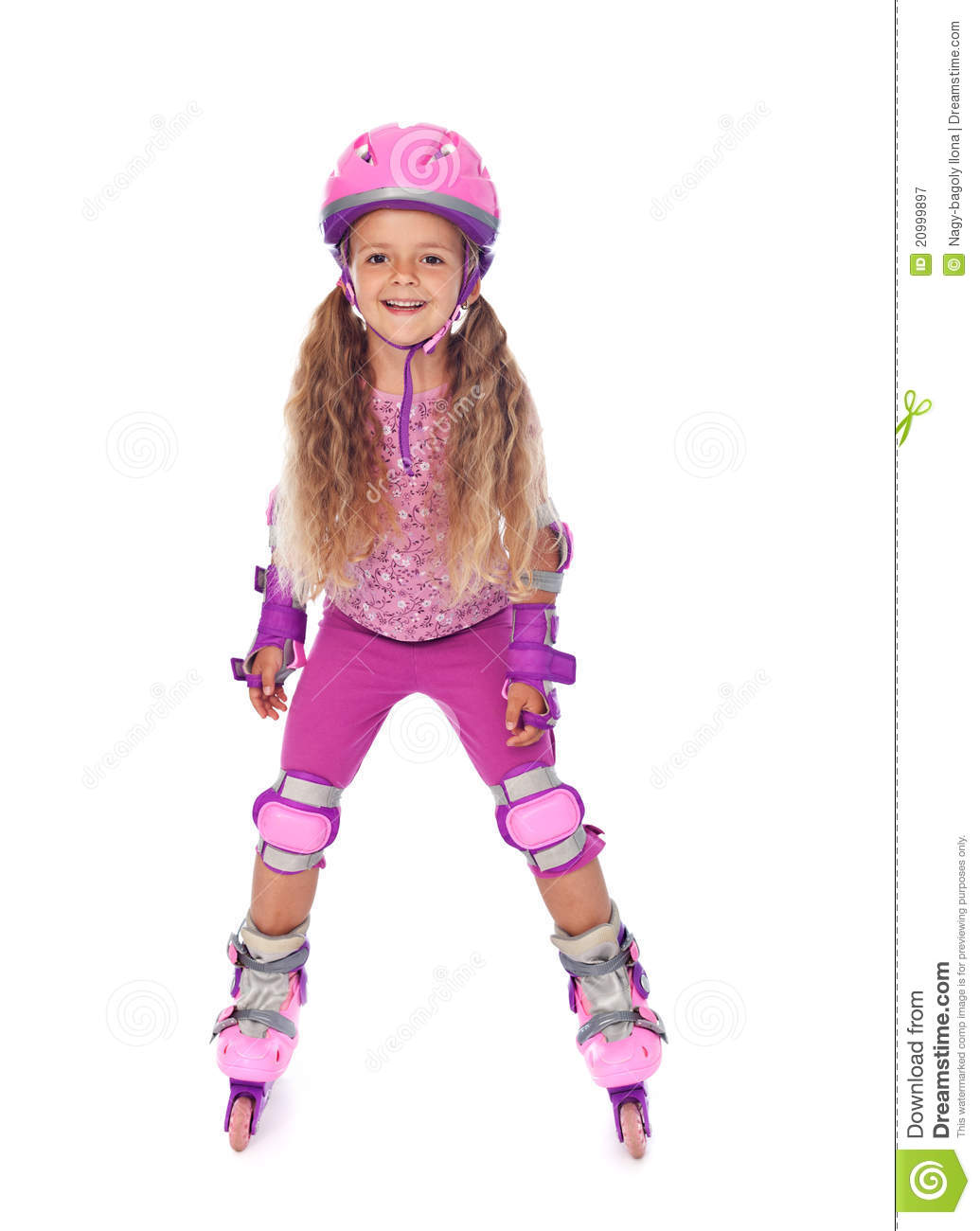 Roller Skating Little Girl Laughing - Isolated Royalty Free Stock ...