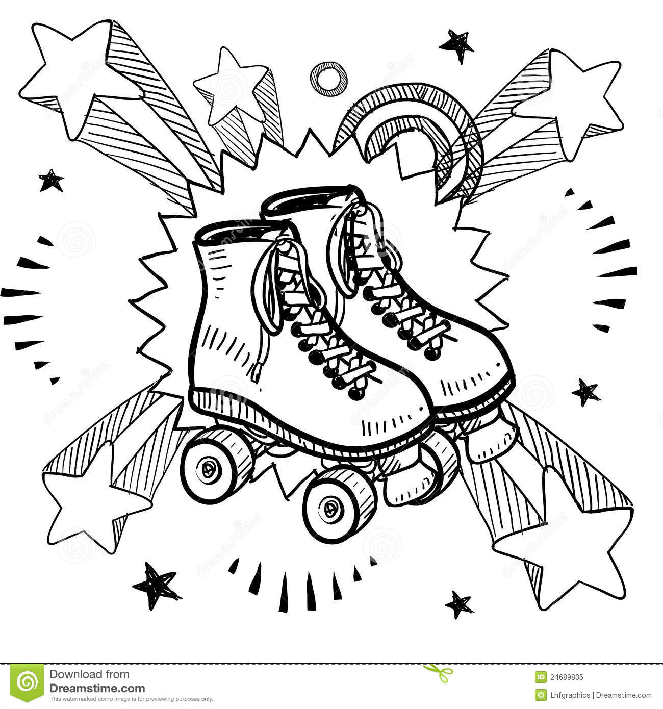 Roller Skating Sketch Royalty Free Stock Photo - Image ...