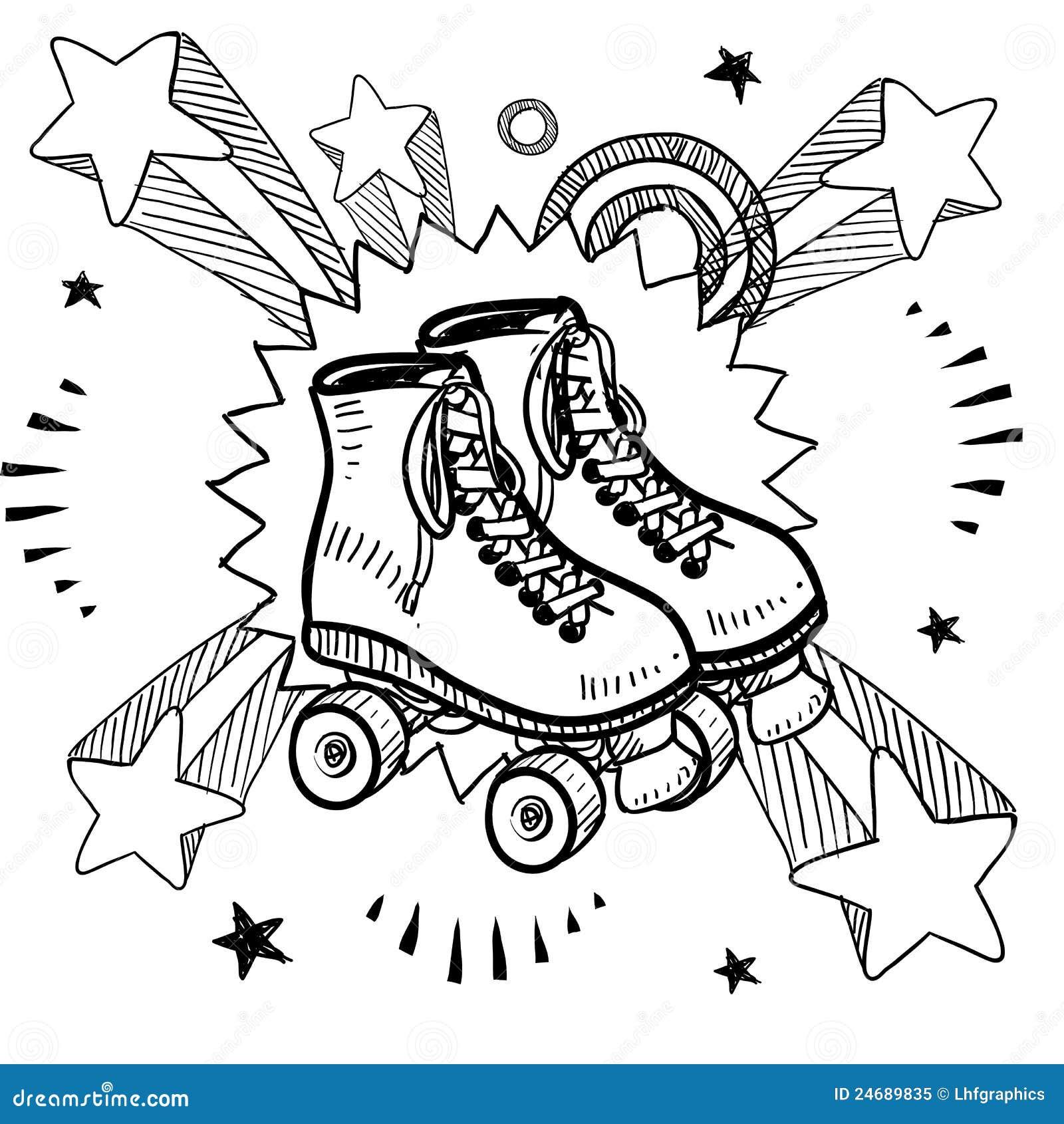 Roller Skating Sketch Royalty Free Stock Photo Image