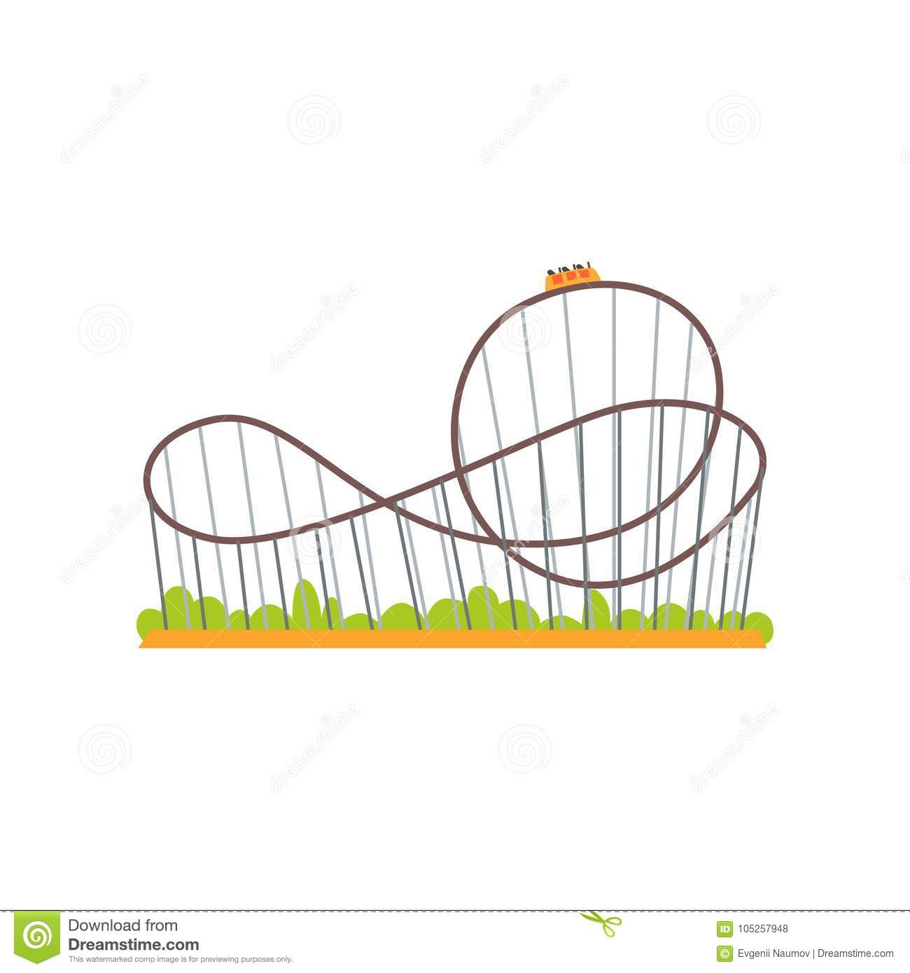 Rollercoaster track with train. Extreme ride attraction. Family amusement park concept. Colorful flat vector design icon