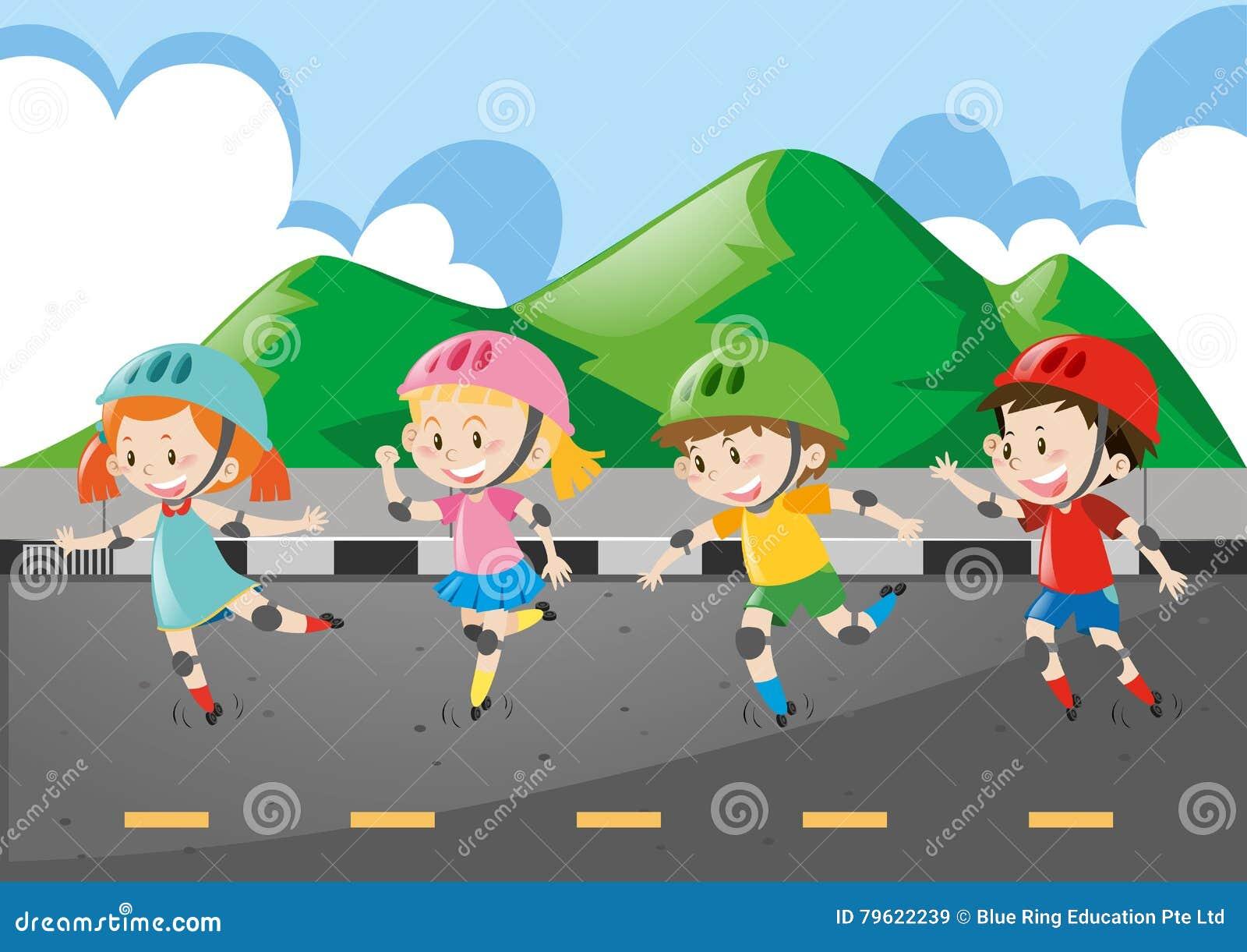 Rollerskate das crianças na estrada