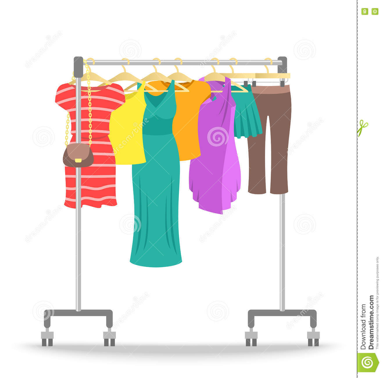 Rolling Hanger Rack With Women Clothes Collection Stock ...