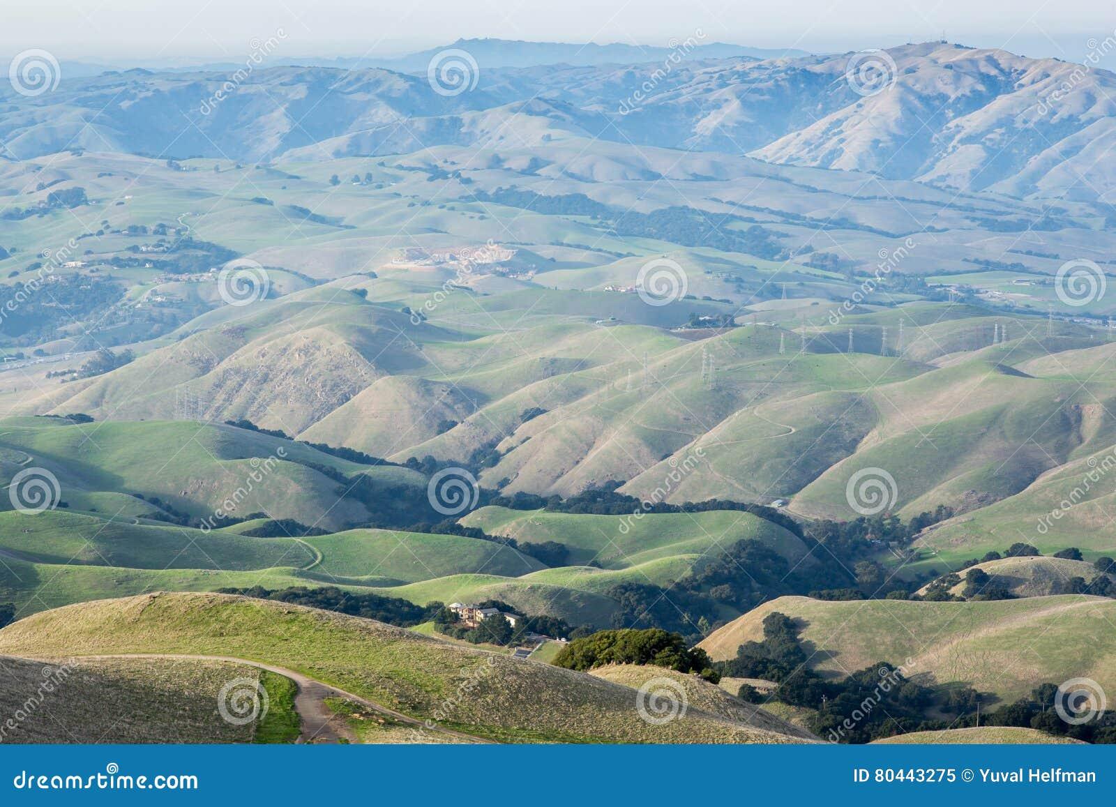 Rolling Hills clássica nos parques regionais da baía do leste de Alameda County em Califórnia