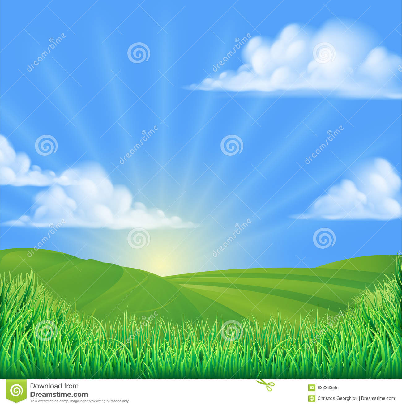 Rolling Hills Field Sun Background Stock Vector Image