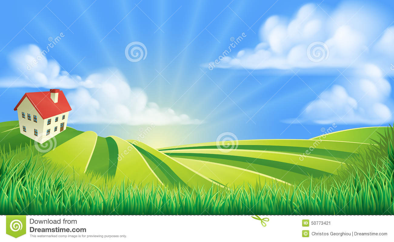 Draw House Plans Free Rolling Hills Fields Farm Stock Vector Image 50773421