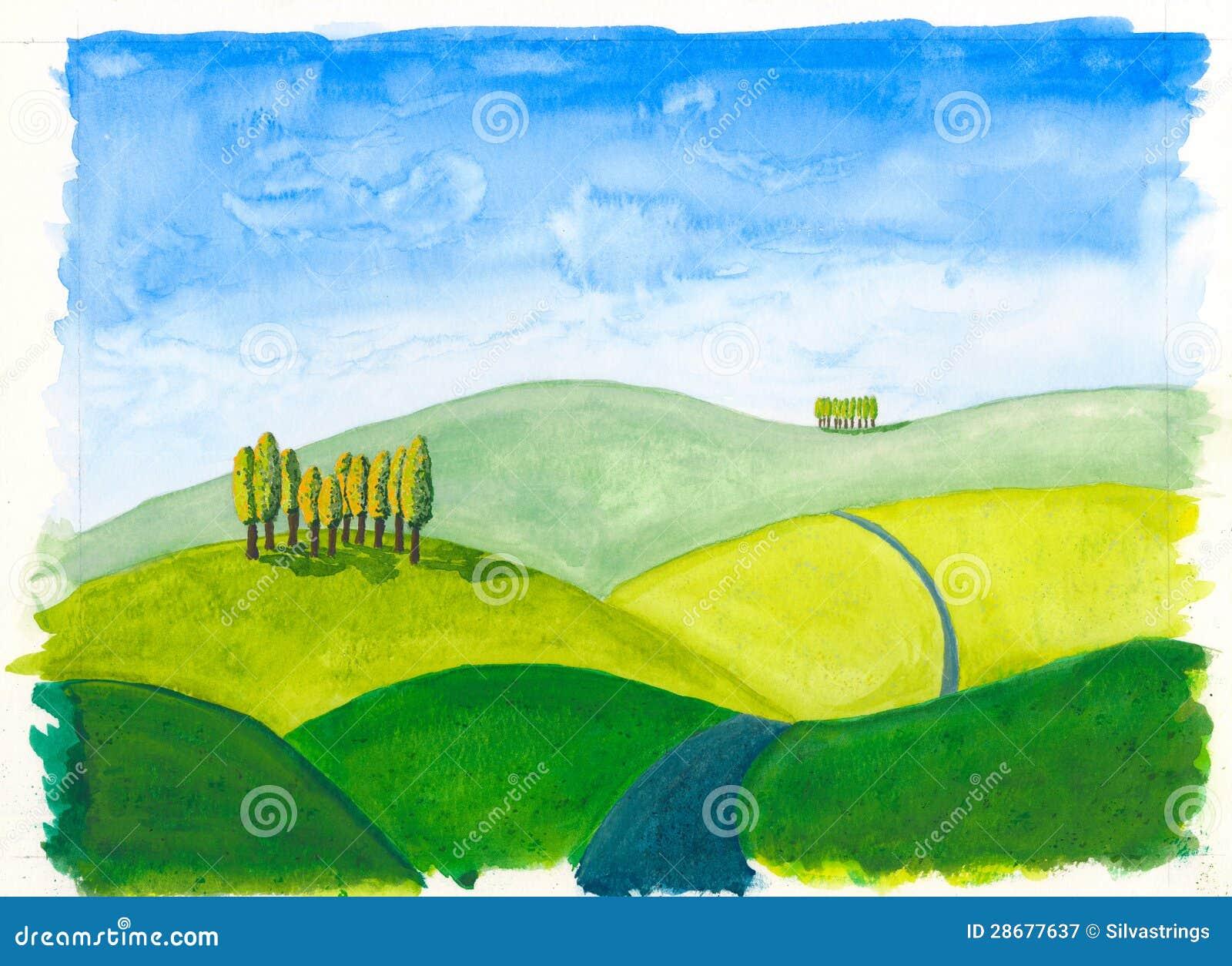 Tuscan Hills Original Watercolour Painting Rolling Stock