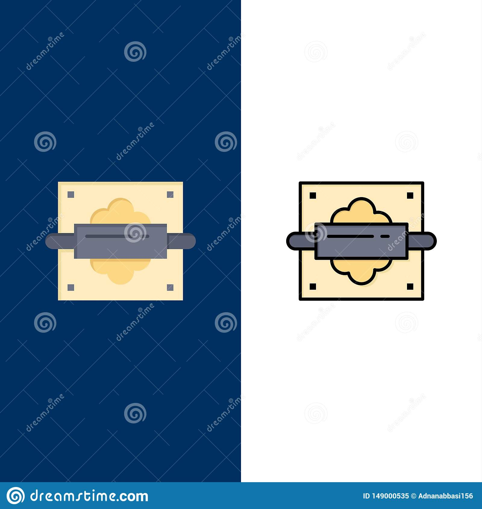 Rolling, Pin, Bread, Kitchen Icons. Flat and Line Filled Icon Set Vector Blue Background