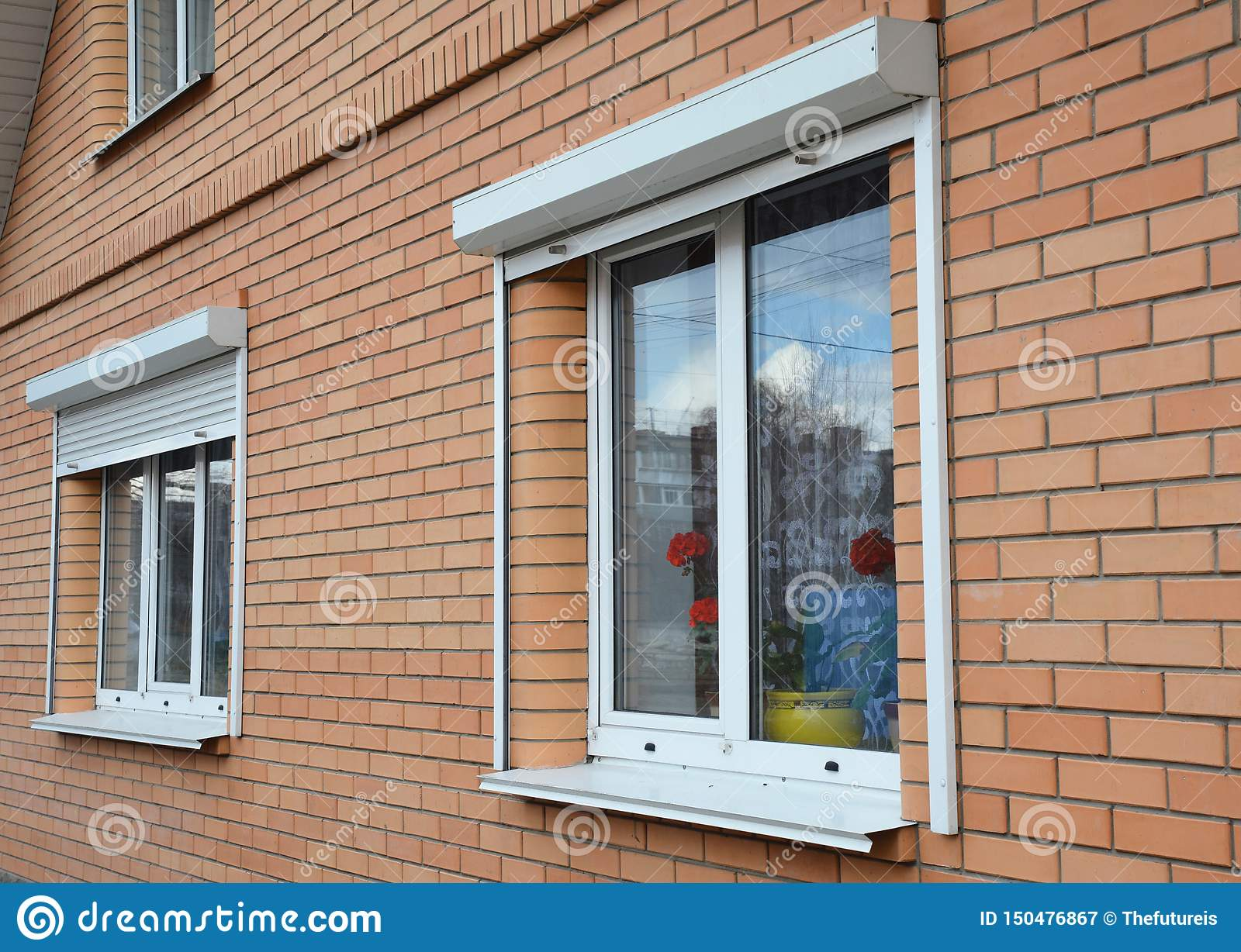 Rolling Shutters House Windows Protection Brick House With