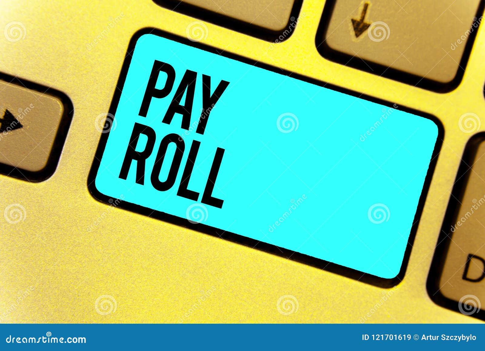 Rollo de paga del texto de la escritura El concepto que significaba la cantidad de jornales y de sueldos pagó por una compañía a